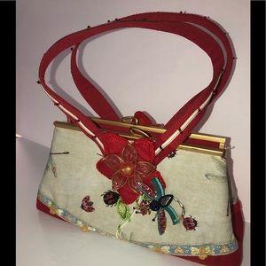 Mary Francis red dragonfly &lady bug handbag